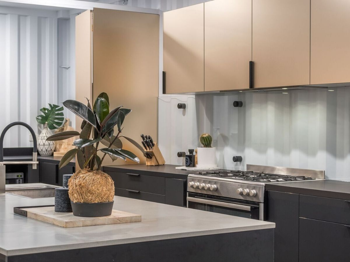 Gold cabinetry kitchen