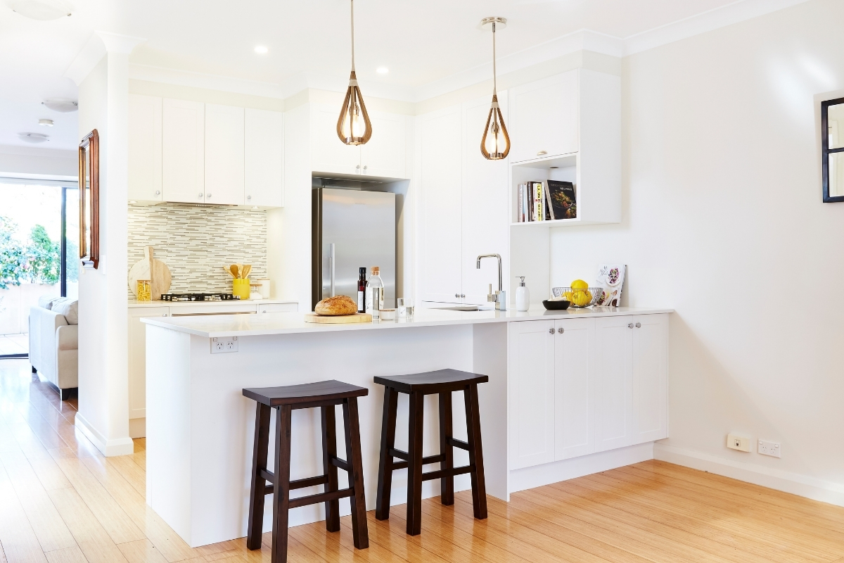 White u-shaped kitchen