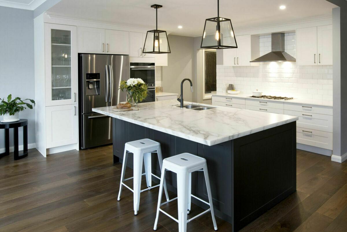 White shaker-style L-shaped kitchen